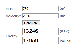 Bullet Kinetic Energy Calculator